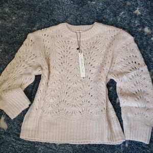 Cream Pointelle Knit Sweater - M